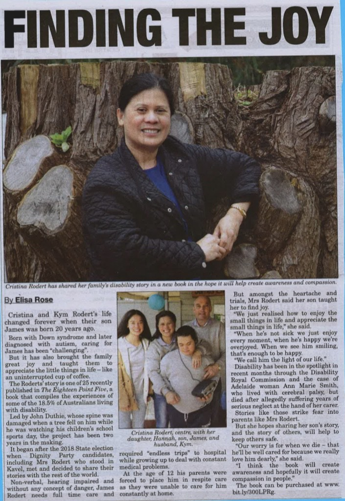 Newspaper article with heading 'Finding the joy'. A photo of Cristina in front of a tree.Another photo below of the 4 members of the family. Hannah, Cristina, James and Kym.
