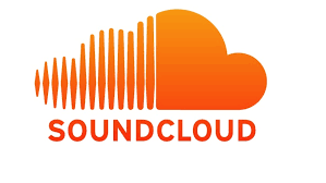 soundcloud logo. Orange. Has words underneath 'soundcloud'. And the cloud appears above