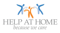 help at home because we care - 3 images of people at the top with their arms outstretched